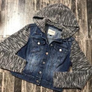 Small sweater under jean jacket look